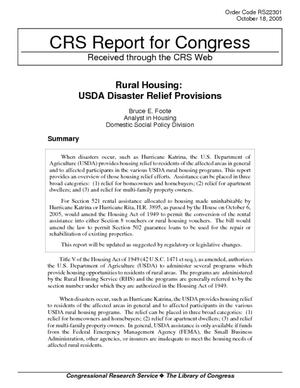 Rural Housing: USDA Disaster Relief Provisions