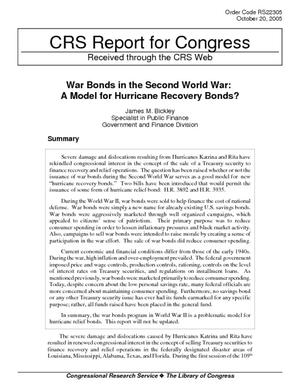 War Bonds in the Second World War: A Model for Hurricane Recovery Bonds?