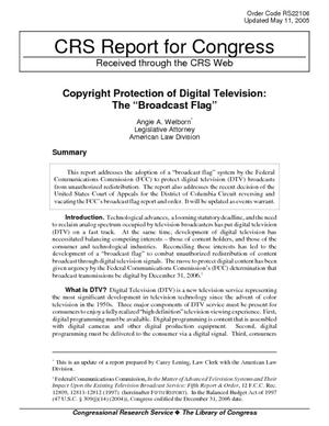 "Copyright Protection of Digital Television:  The ""Broadcast Flag"""