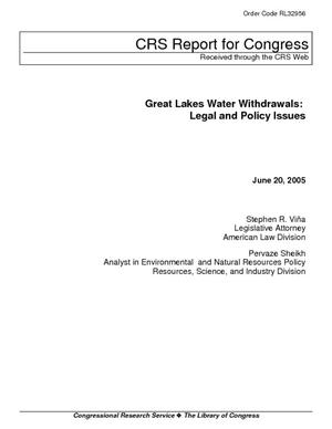 Great Lakes Water Withdrawal: Legal and Policy Issues