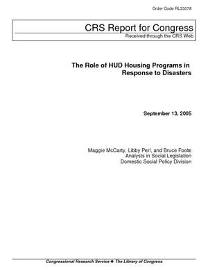 The Role of HUD Housing Programs in Response to Disasters