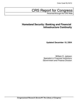 Homeland Security: Banking and Financial Infrastructure Continuity