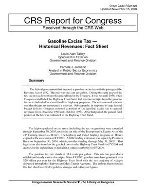 Gasoline Excise Tax - Historical Revenues: Fact Sheet