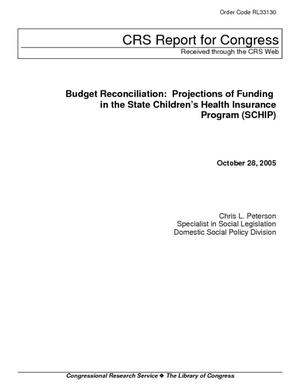 Budget Reconciliation: Projections of Funding in the State Children's Health Insurance Program (SCHIP)