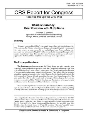 China's Currency: Brief Overview of U.S. Opinions