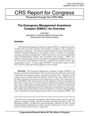 The Emergency Management Assistance Compact (EMAC): An Overview