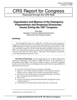 Organization and Mission of the Emergency Preparedness and Response Directorate: Issues During the 109th Congress