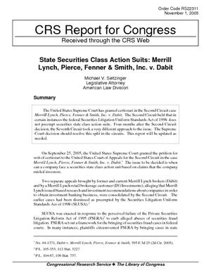 State Securities Class Action Suits: Merrill Lynch, Pierce, Fenner