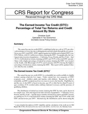 The Earned Income Tax Credit (EITC): Percentage of Total Tax Returns and Credit Amount by State