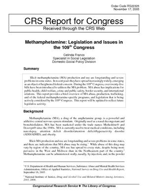 Methamphetamine: Legislation and Issues in the 109th Congress