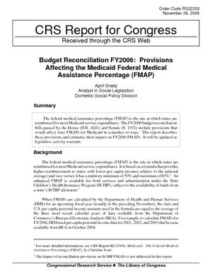 Budget Reconciliation FY2006: Provisions Affecting the Medicaid Federal Medical Assistance Percentage (FMAP)