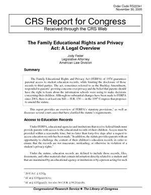 The Family Educational Rights and Privacy Act: A Legal Overview