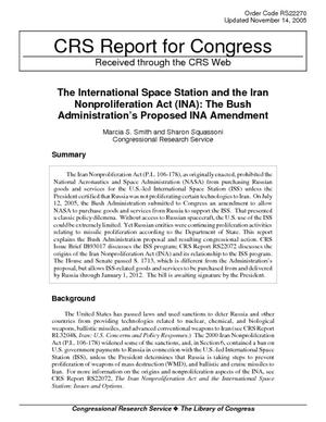 The International Space Station and the Iran Nonproliferation Act (INA): The Bush Administration's Proposed INA Amendment