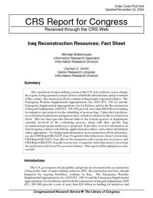 Iraq Reconstruction Resources: Fact Sheet