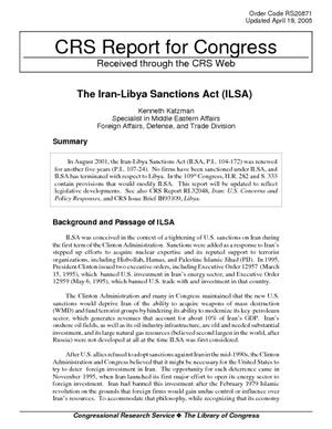 The Iran-Libya Sanctions Act (ILSA)