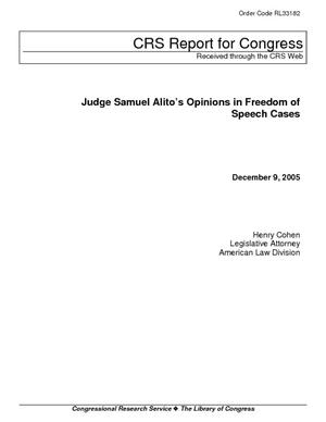 Judge Samuel Alito's Opinions in Freedom of Speech Cases