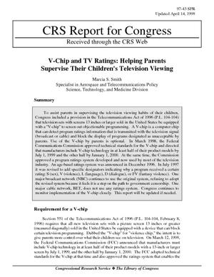V-Chip and TV Ratings: Helping Parents Supervise Their Children's Television Viewing