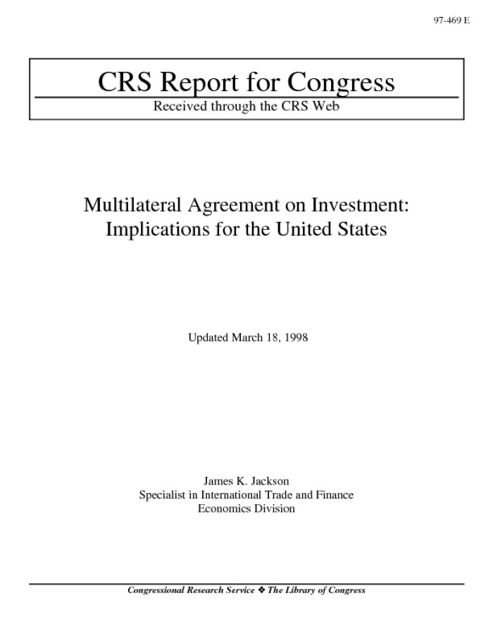 Multilateral Agreement On Investment Implications For The United