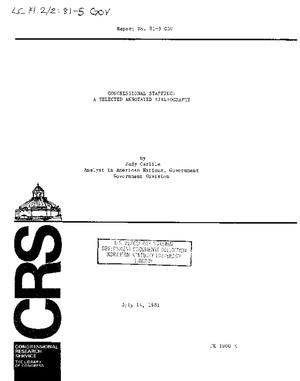 Congressional Staffing: A Selected Annotated Bibliography
