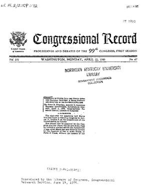 Congressional Record: Proceedings and Debates of the 99th Congress, First Session