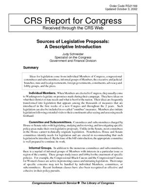 Sources of Legislative Proposals: A Descriptive Introduction