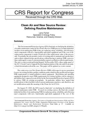 Clean Air and New Source Review: Defining Routine Maintenance