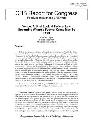Venue: A Brief Look at Federal Law Governing Where a Federal Crime May Be Tried