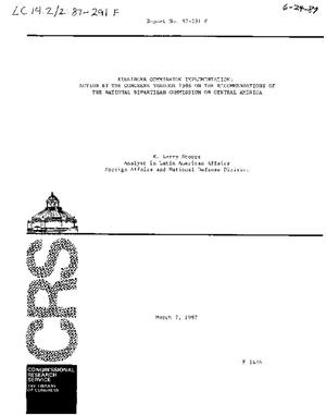 Kissinger Commission Implementation: Actions by the Congress Through 1986 on the Recommendations of the National Bipartisan Commission of Central America