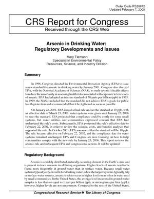 Arsenic in Drinking Water: Regulatory Develpoments and Issues