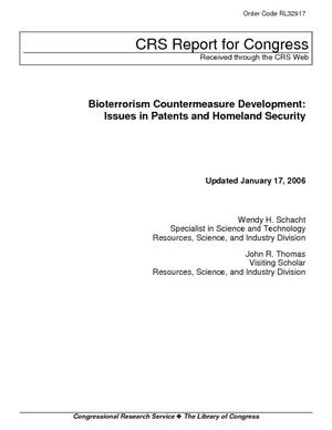 Bioterrorism Countermeasure Development: Issues in Patents and Homeland Security