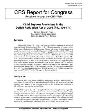 Child Support Provisions in the Deficit Reduction Act of 2005 (P.L. 109-171)