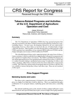 Tobacco-Related Programs and Activities of the U.S. Department of Agriculture: Operation and Cost