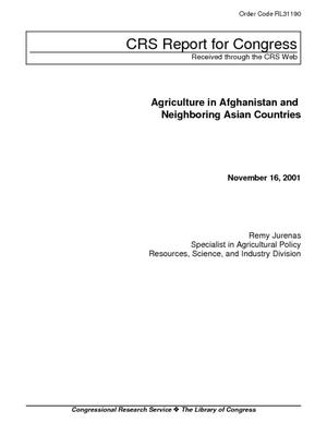 Agriculture in Afghanistan and Neighboring Asian Countries