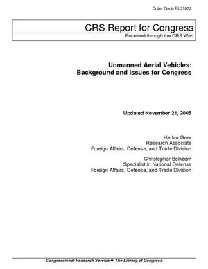 Unmanned Aerial Vehicles: Background and Issues for Congress