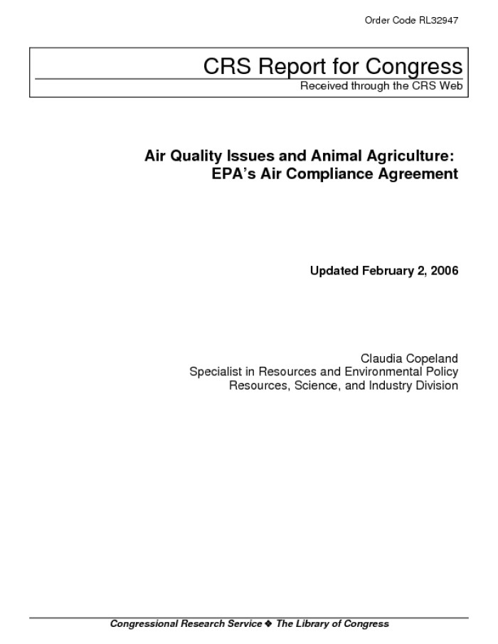 Air Quality Issues And Animal Agriculture Epas Air Compliance