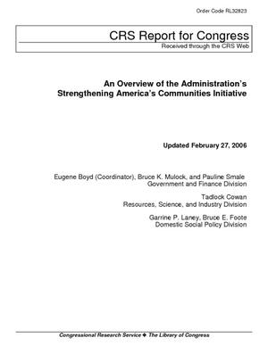 An Overview of the Administration's Strengthening America's Communities Initiative