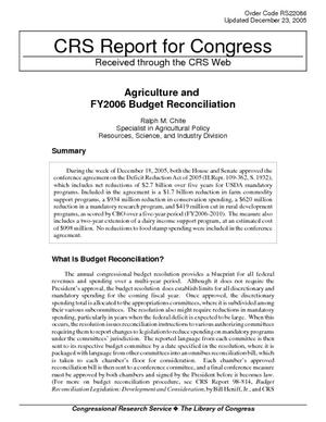 Primary view of Agriculture and FY2006 Budget Reconciliation