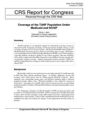Coverage of the TANF Population Under Medicaid and SCHIP
