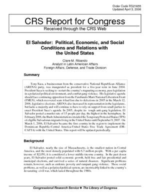 El Salvador: Political, Economic, and Social Conditions and Relations with the United States