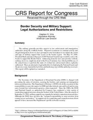 Border Security and Military Support: Legal Authorizations and Restrictions