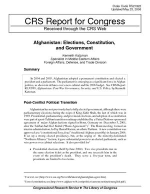 Afghanistan: Elections, Constitution, and Government