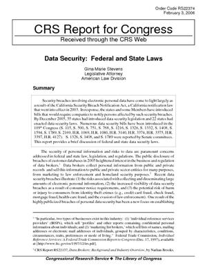 Data Security: Federal and State Laws