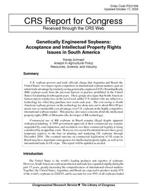 Genetically Engineered Soybeans: Acceptance and Intellectual Property Rights Issues in South America