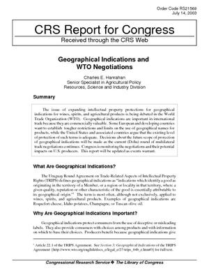 Geographical Indications and WTO Negotiations