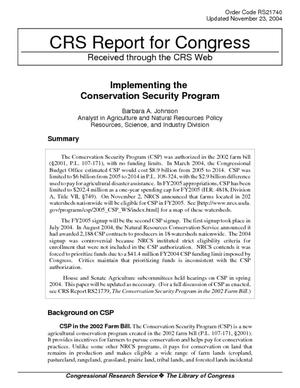 Implementing the Conservation Security Program