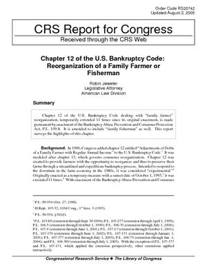 Chapter 12 of the U.S. Bankruptcy Code: Reorganization of a Family Farmer or Fisherman