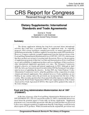 Dietary Supplements: International Standards and Trade Agreements