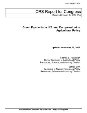 Green Payments in U.S. and European Union Agricultural Policy
