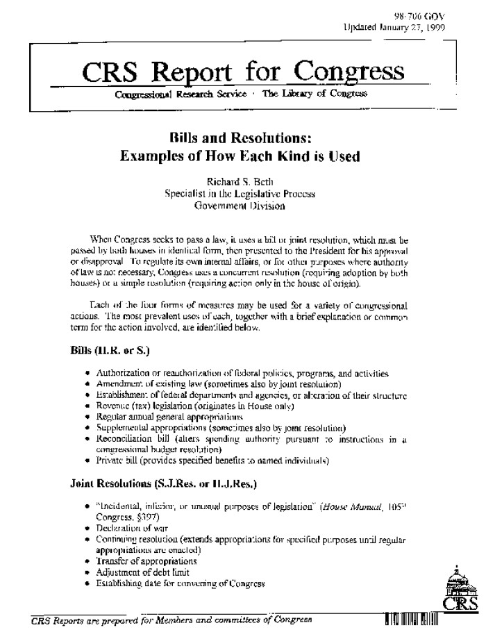 Bills And Resolutions Examples Of How Each Kind Is Used Digital