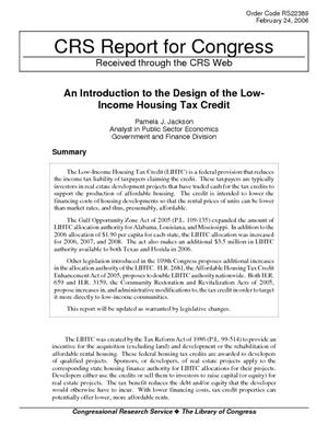 An Introduction to the Design of the Low-Income Housing Tax Credit
